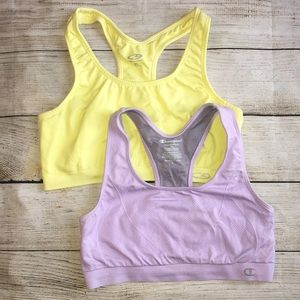 2 Champion Sports Workout Bra Tops Pull On L & XL